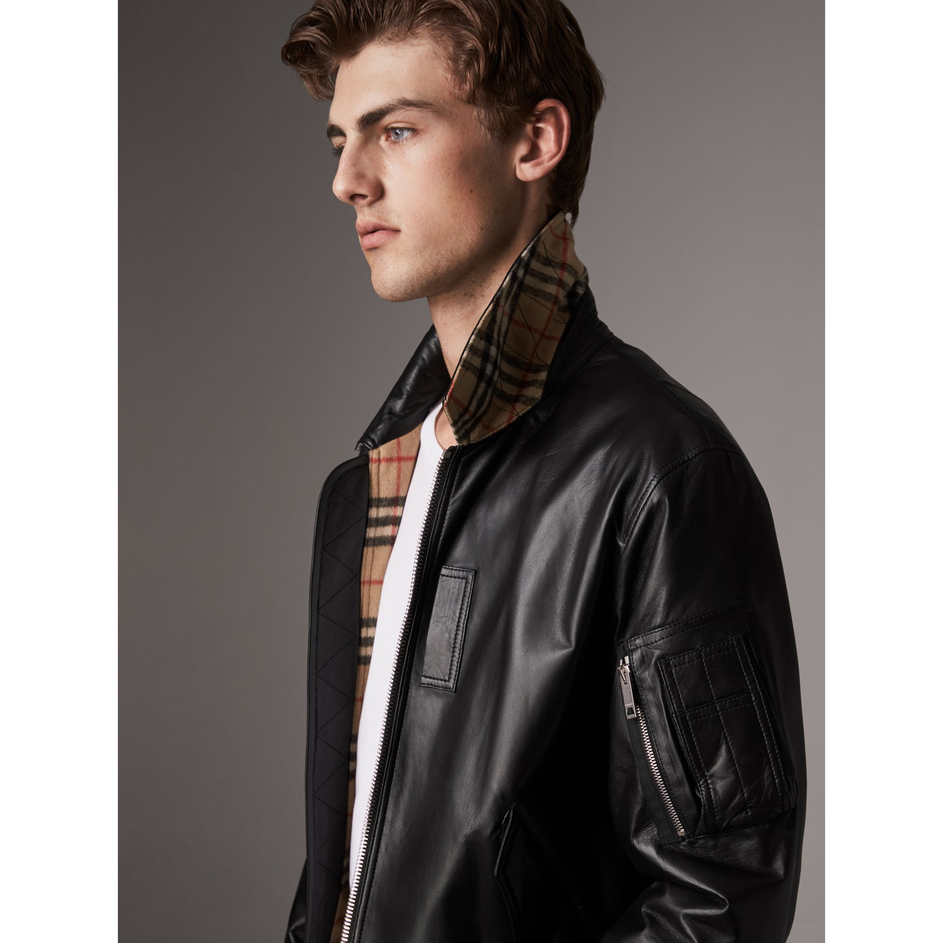 Point Collar Lambskin Bomber Jacket in Black - Men | Burberry - gallery image 2