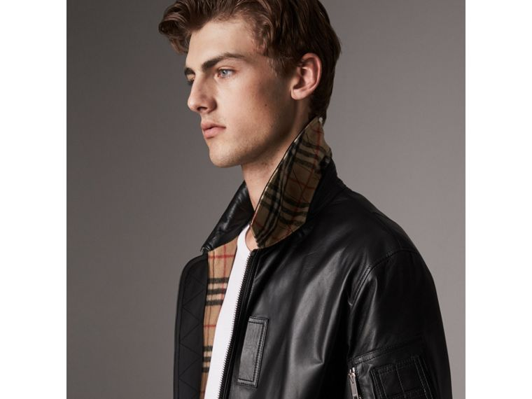 Point Collar Lambskin Bomber Jacket in Black - Men | Burberry United Kingdom - cell image 1