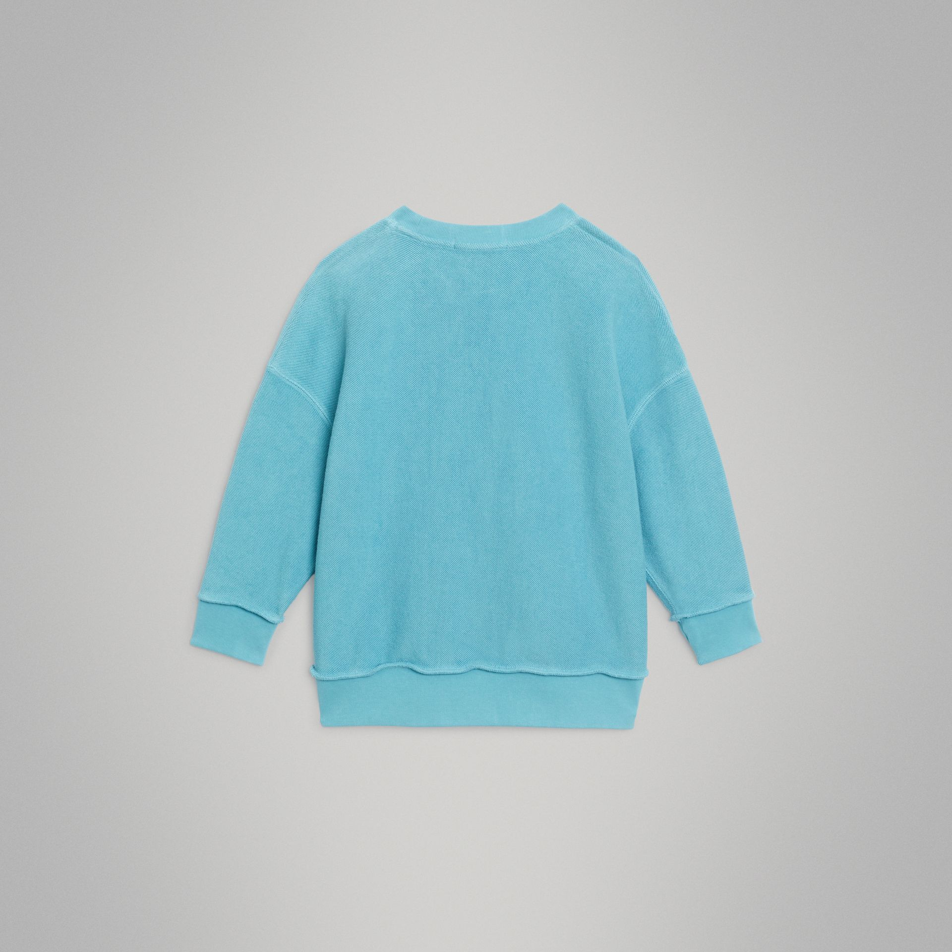 Number Print Cotton Sweatshirt in Bright Cyan Blue | Burberry Singapore - gallery image 4