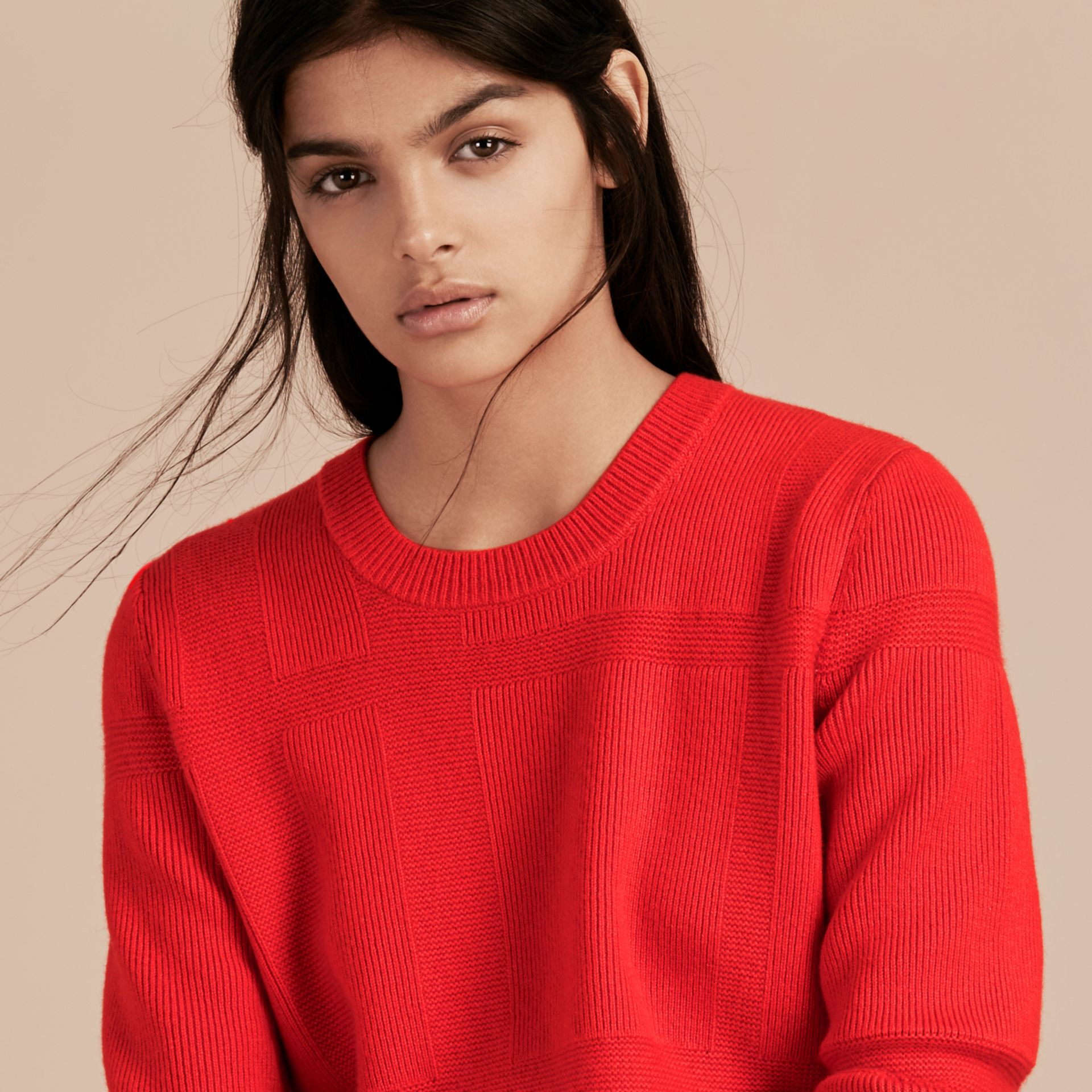 Bright military red Check-knit Wool Cashmere Sweater Bright Military Red - gallery image 6