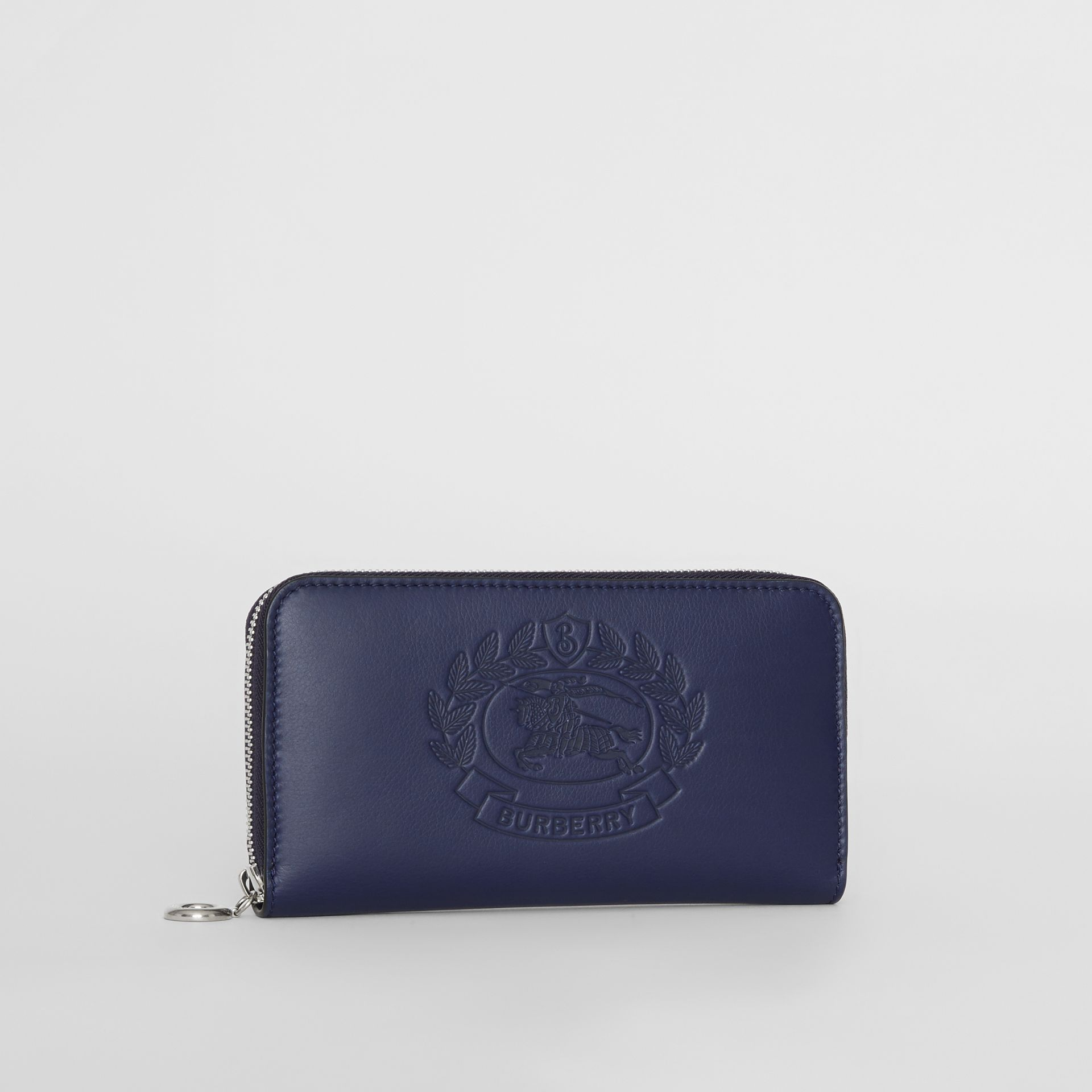Embossed Crest Two-tone Leather Ziparound Wallet in Regency Blue - Women | Burberry - gallery image 3