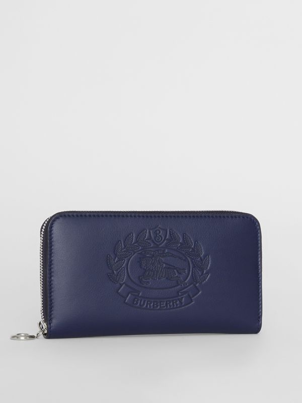 Embossed Crest Two-tone Leather Ziparound Wallet in Regency Blue - Women | Burberry - cell image 3