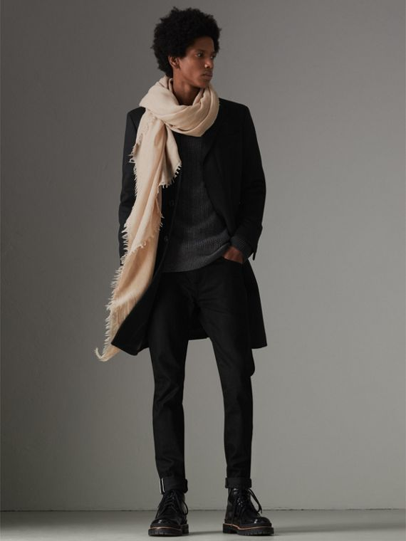 Embroidered Cashmere Cotton Scarf in Stone | Burberry Australia - cell image 3