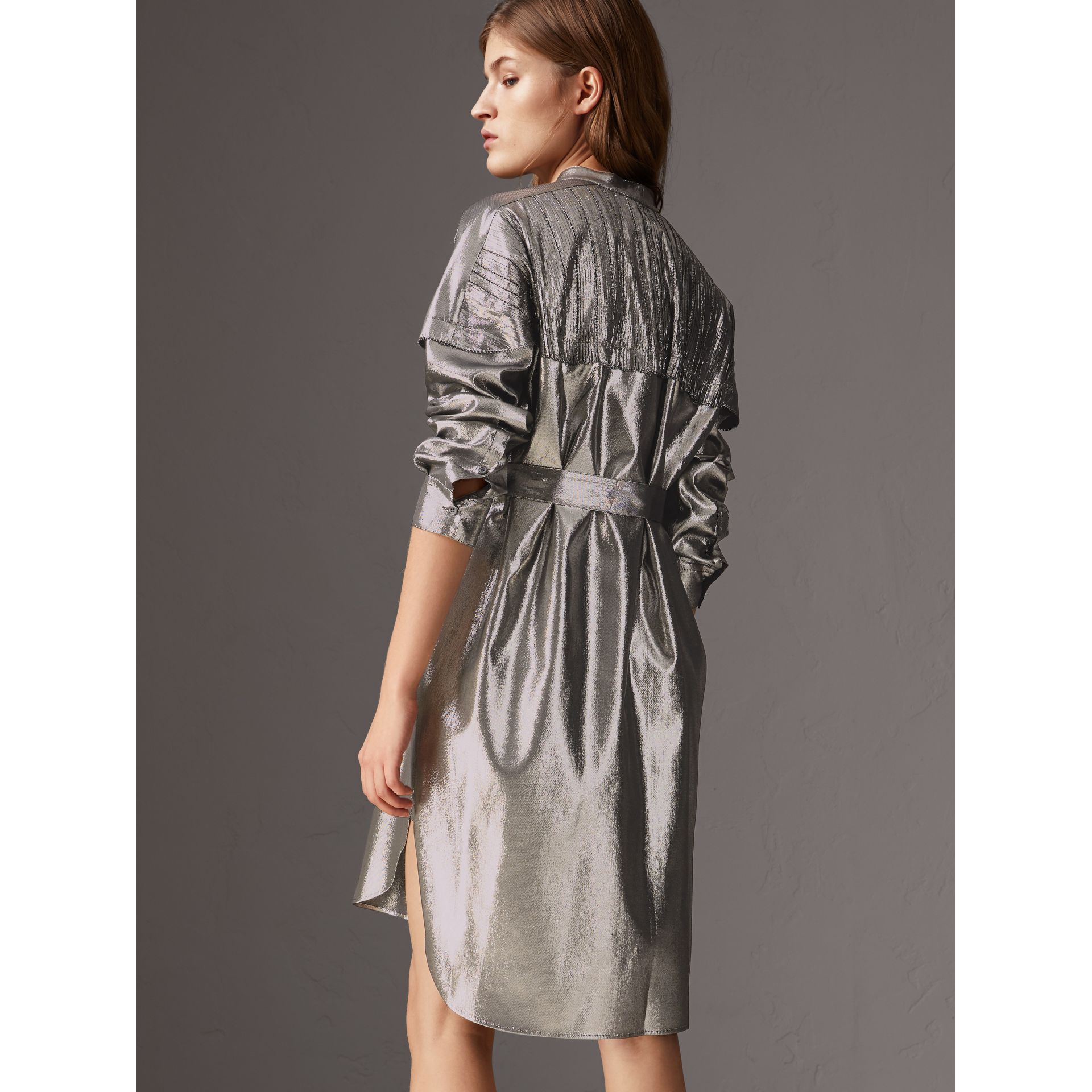 Pintuck Detail Silk Lamé Shirt Dress in Silver - Women | Burberry - gallery image 2