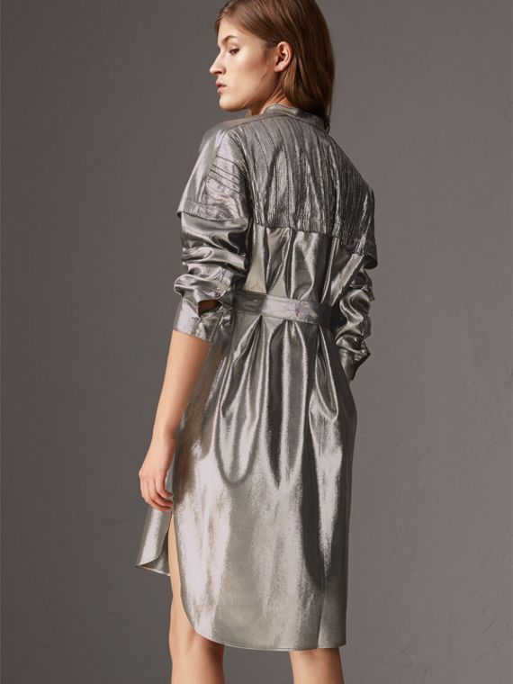 Pintuck Detail Silk Lamé Shirt Dress in Silver - Women | Burberry - cell image 2