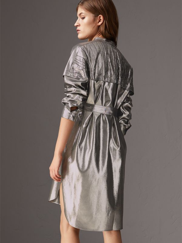Pintuck Detail Silk Lamé Shirt Dress in Silver - Women | Burberry United Kingdom - cell image 2