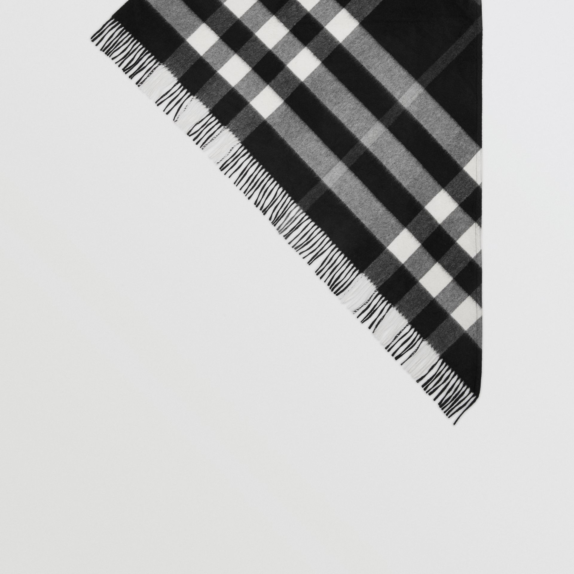 The Burberry Bandana in Check Cashmere in Black | Burberry United Kingdom - gallery image 4