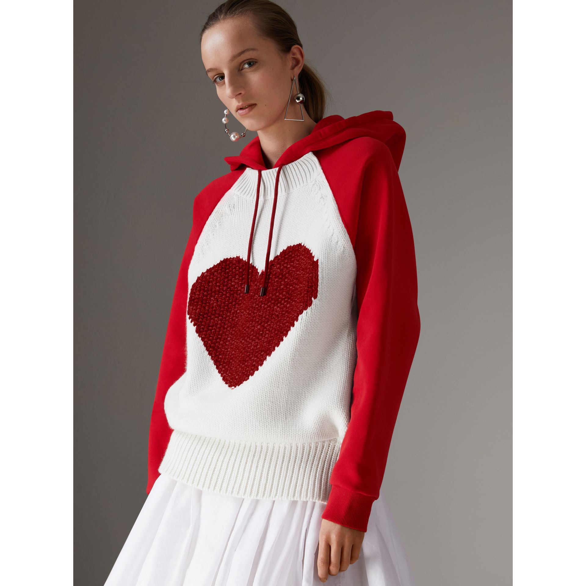 Heart Intarsia Cotton Blend Hoodie in Bright Red - Women | Burberry - gallery image 4