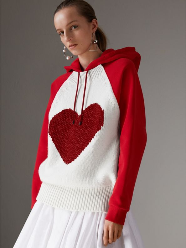 Heart Intarsia Cotton Blend Hoodie in Bright Red