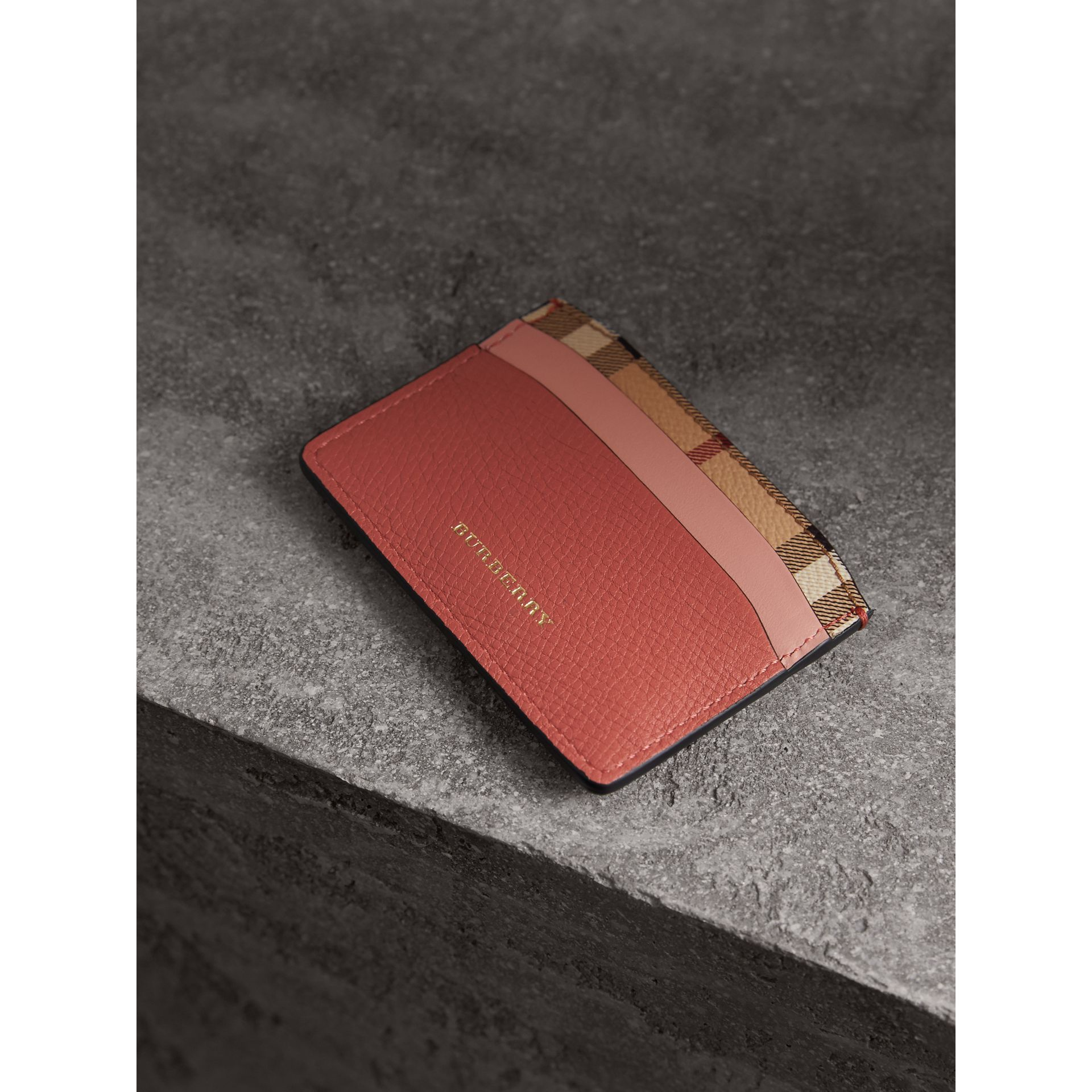 Beasts Motif Haymarket Check and Leather Card Case in Cinnamon Red - Women | Burberry - gallery image 3