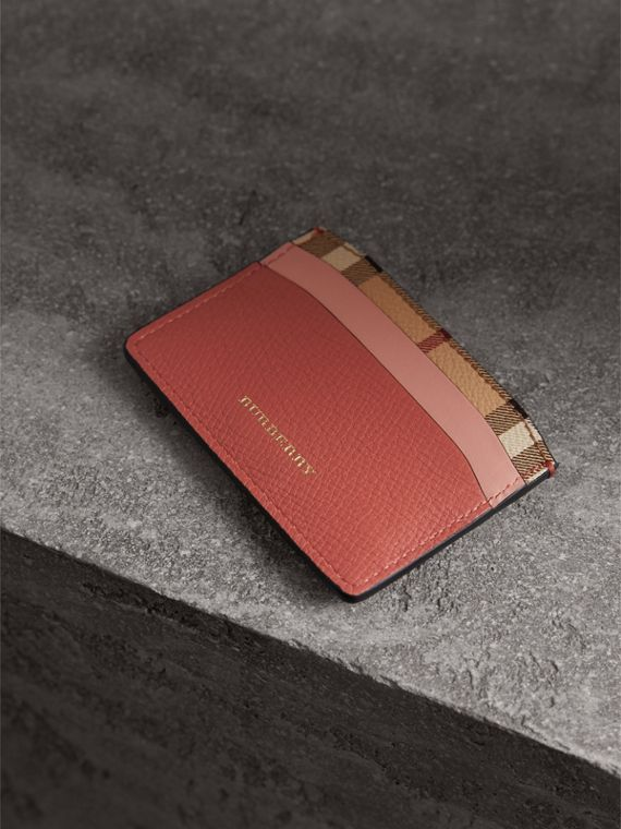 Beasts Motif Haymarket Check and Leather Card Case in Cinnamon Red - Women | Burberry - cell image 2