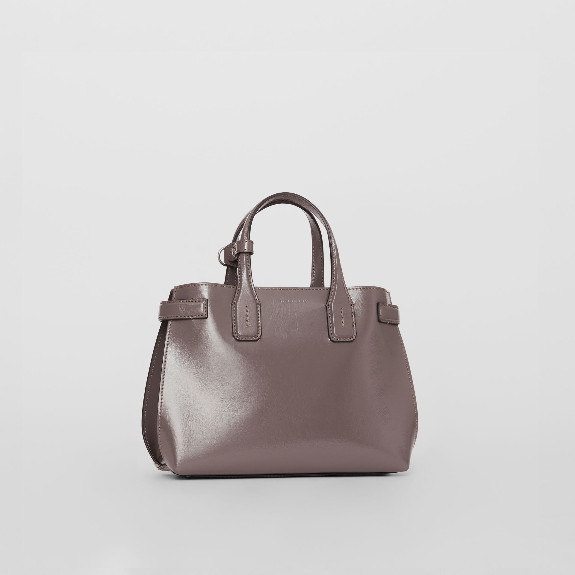 The Small Soft Leather Banner in Sepia Grey - Women | Burberry United Kingdom - gallery image 0