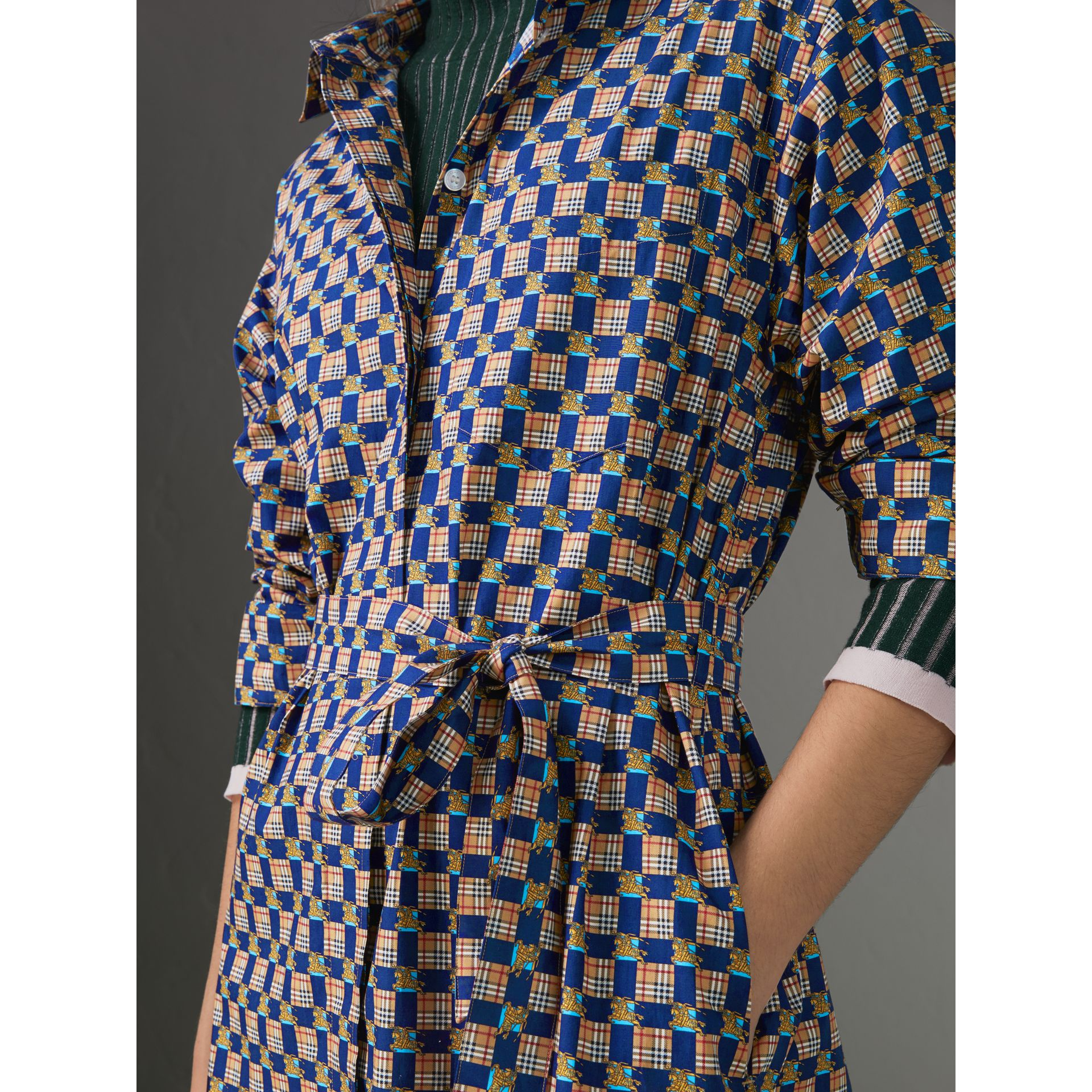 Tiled Archive Print Cotton Shirt Dress in Navy - Women | Burberry United Kingdom - gallery image 1