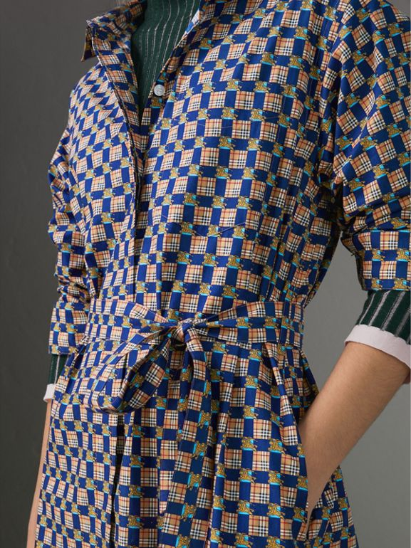 Tiled Archive Print Cotton Shirt Dress in Navy - Women | Burberry United States - cell image 1