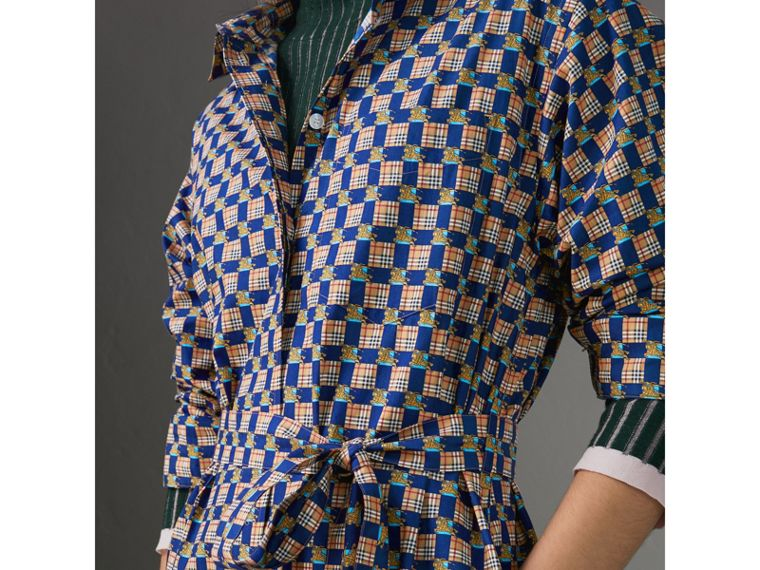 Tiled Archive Print Cotton Shirt Dress in Navy - Women | Burberry - cell image 1