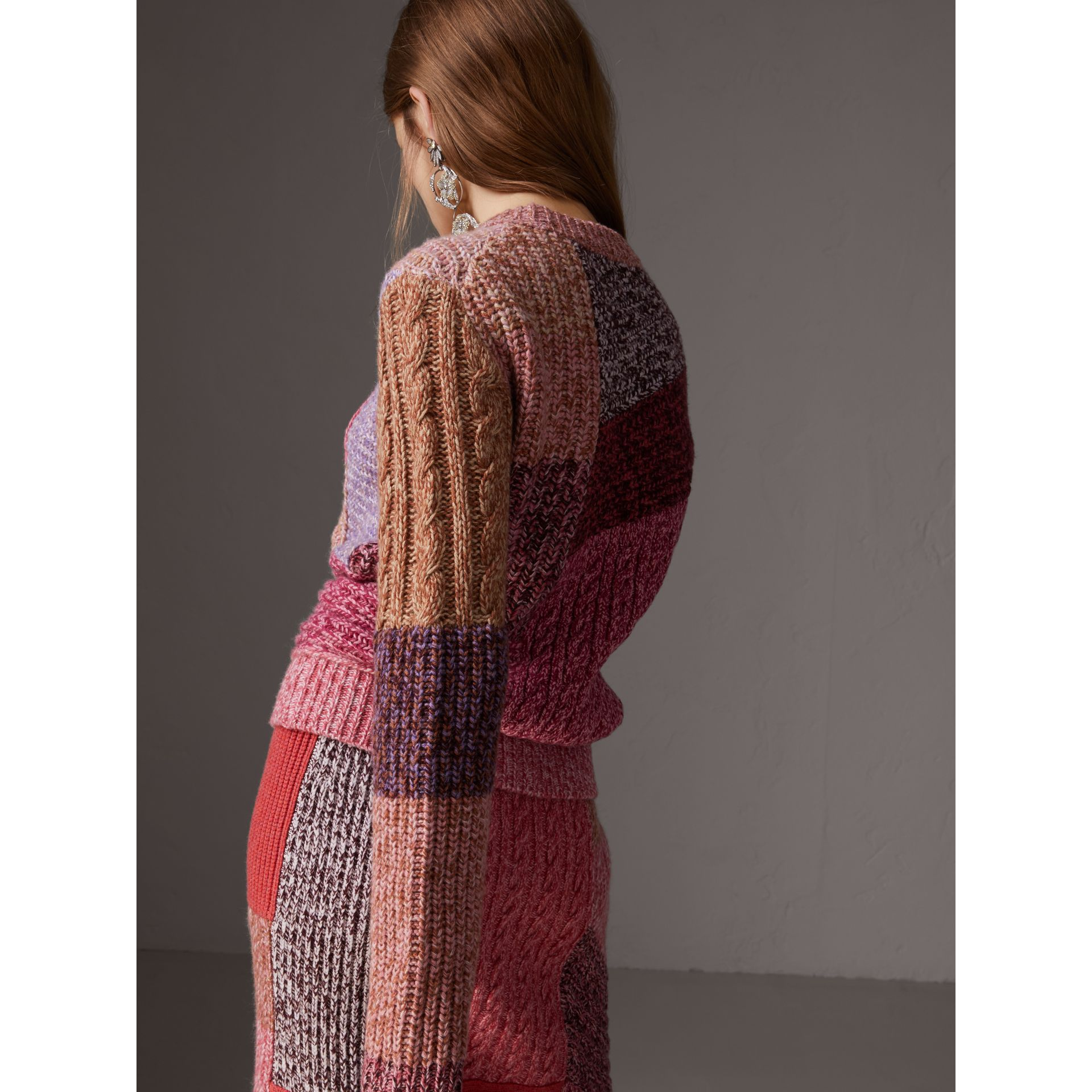 Cashmere-wool Mouliné  Patchwork Sweater in Multicolour - Women | Burberry Australia - gallery image 2