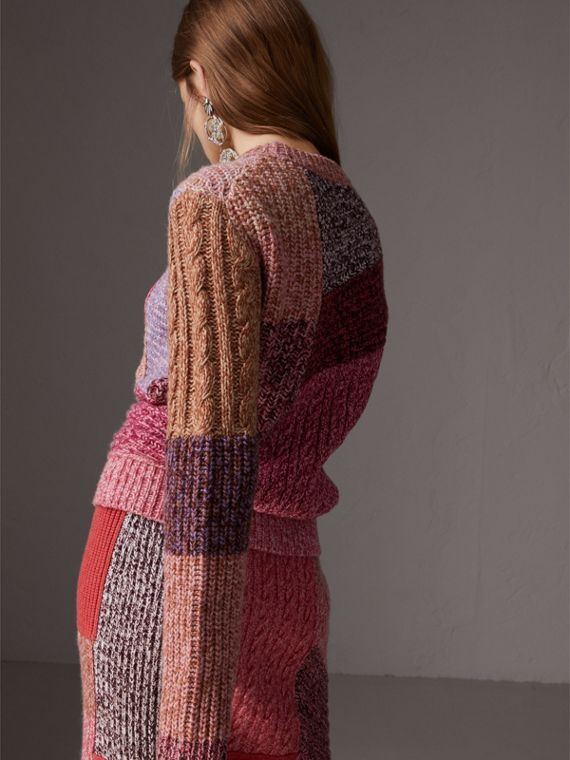 Cashmere-wool Mouliné  Patchwork Sweater in Multicolour - Women | Burberry Australia - cell image 2