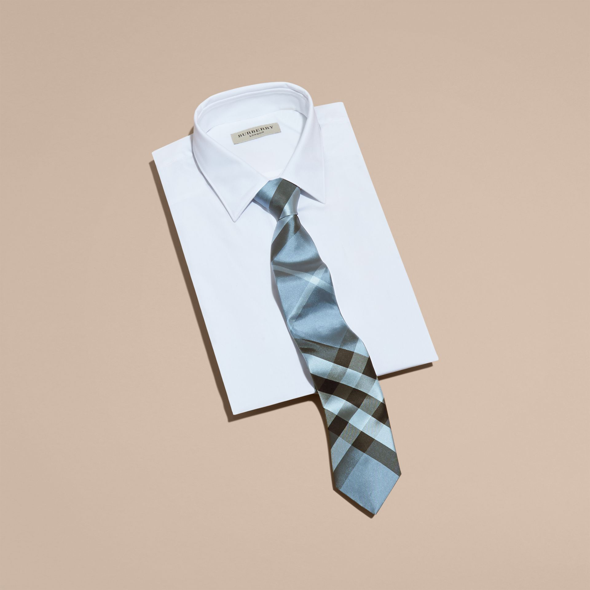 Light blue Modern Cut Check Silk Tie Light Blue - gallery image 3