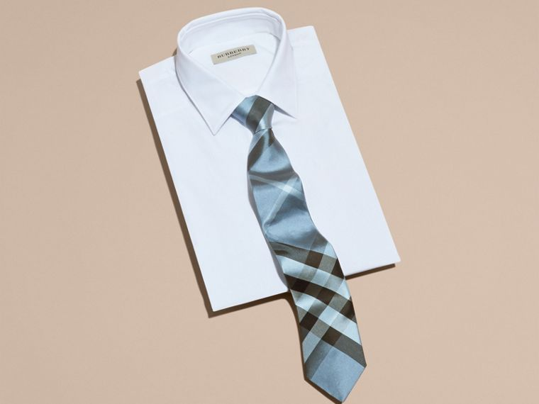 Light blue Modern Cut Check Silk Tie Light Blue - cell image 2