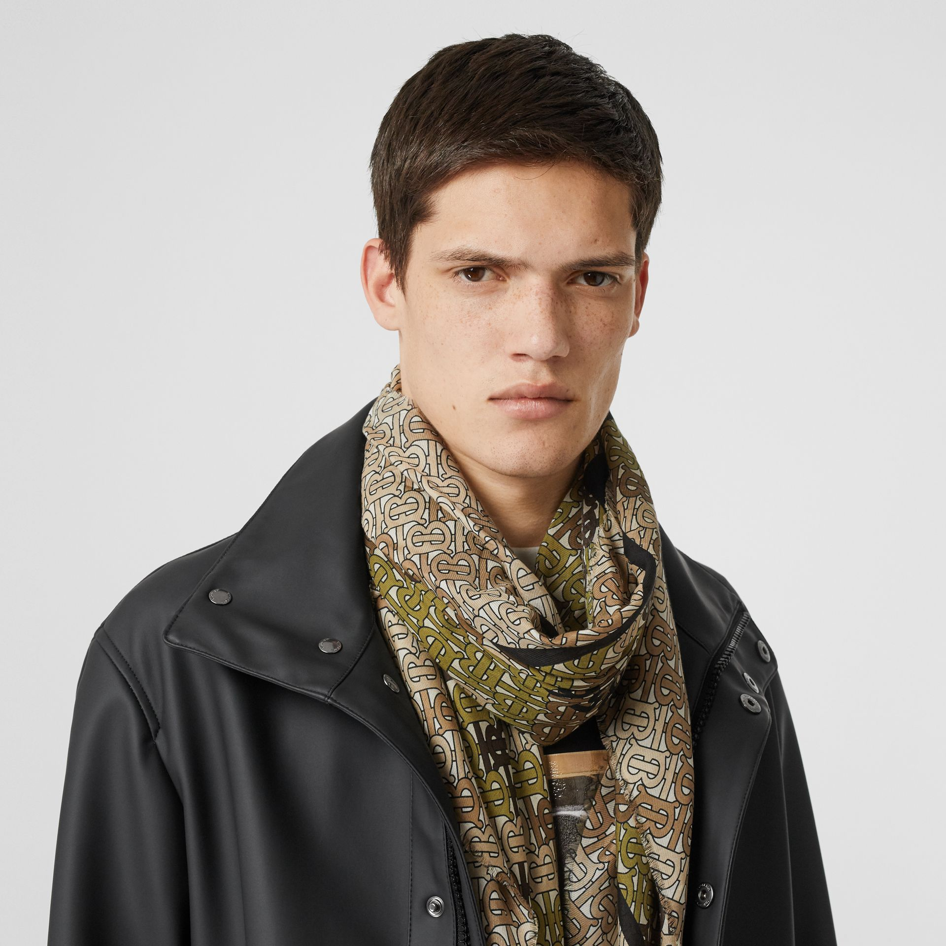 Horseferry Print Cotton Silk Large Square Scarf in Khaki Green | Burberry Australia - gallery image 3