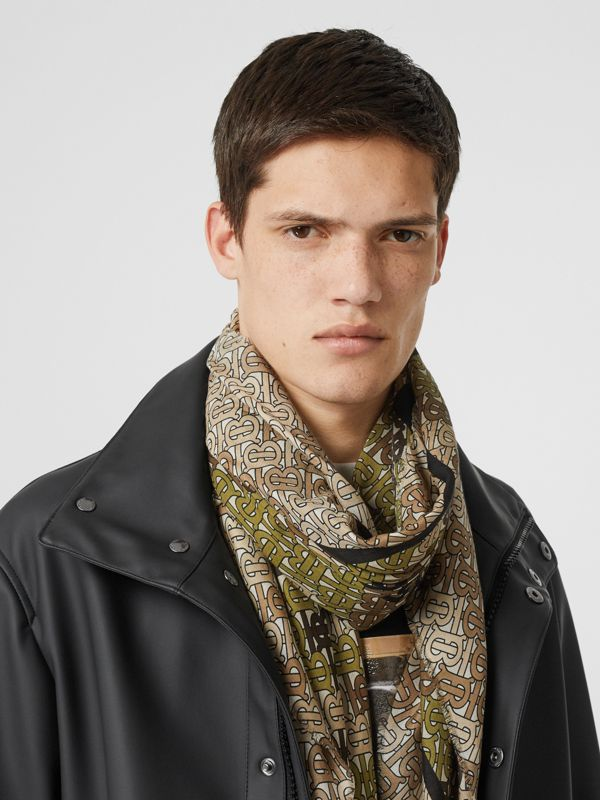 Horseferry Print Cotton Silk Large Square Scarf in Khaki Green | Burberry - cell image 3