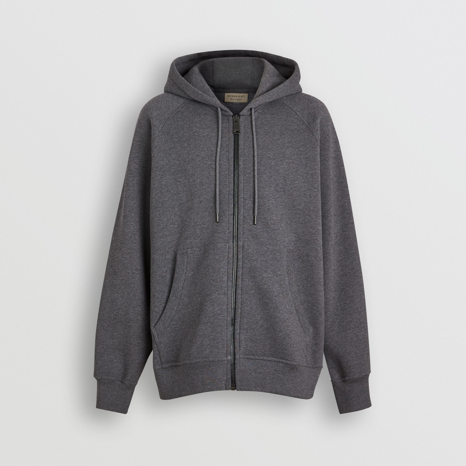 Embroidered Logo Jersey Hooded Top in Mid Grey Melange - Men | Burberry Australia - gallery image 3