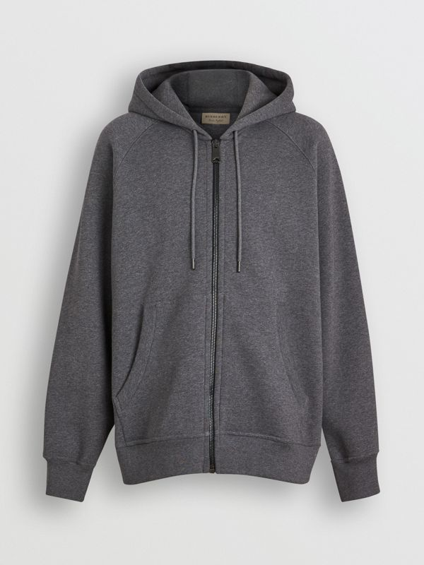 Embroidered Logo Jersey Hooded Top in Mid Grey Melange - Men | Burberry United Kingdom - cell image 3