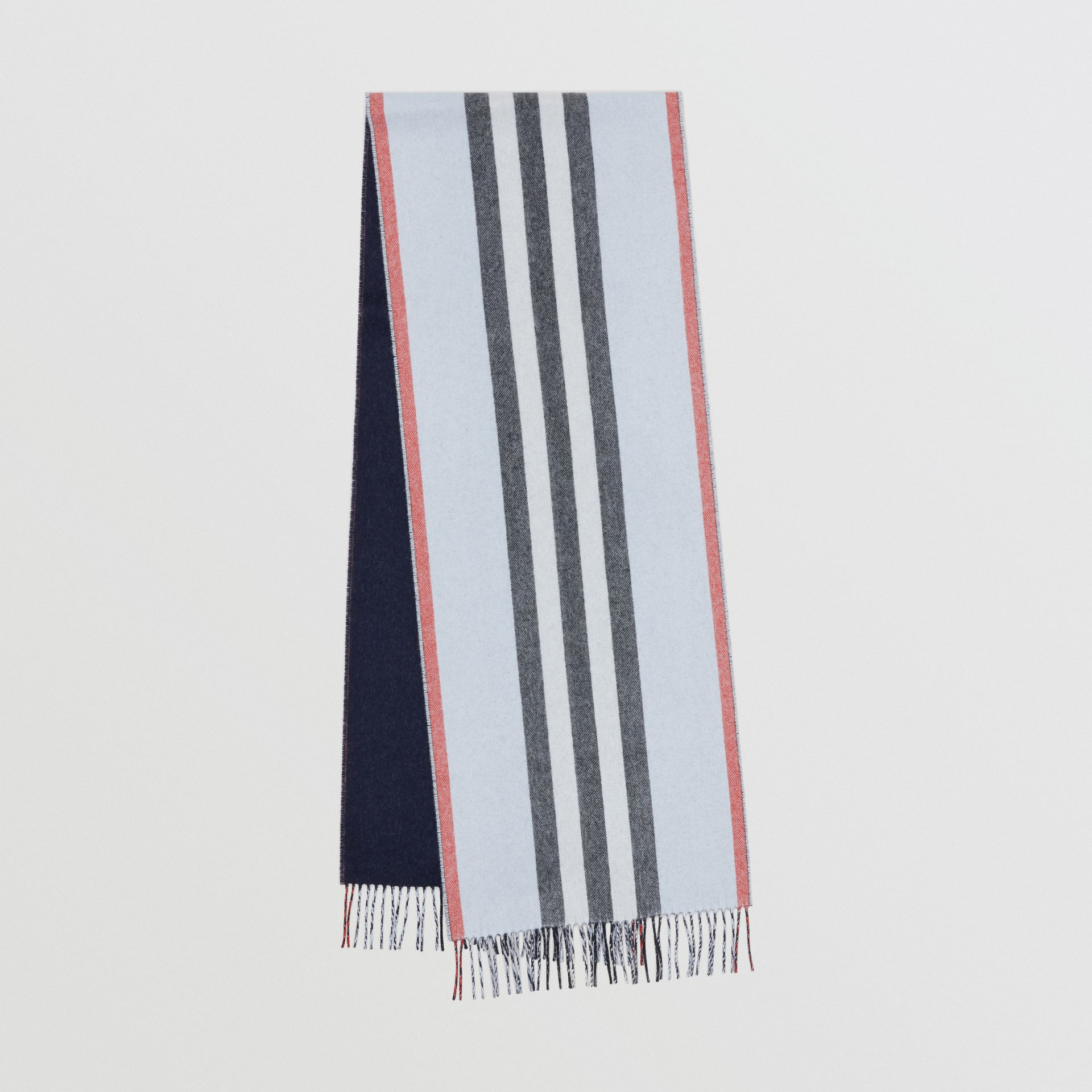 Reversible Icon Stripe Cashmere Scarf in Pale Blue | Burberry Australia - gallery image 0