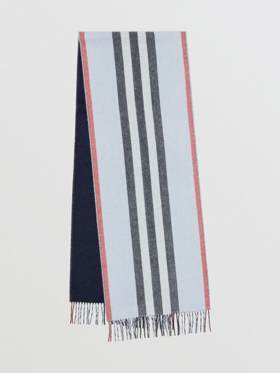 Reversible Icon Stripe Cashmere Scarf in Pale Blue