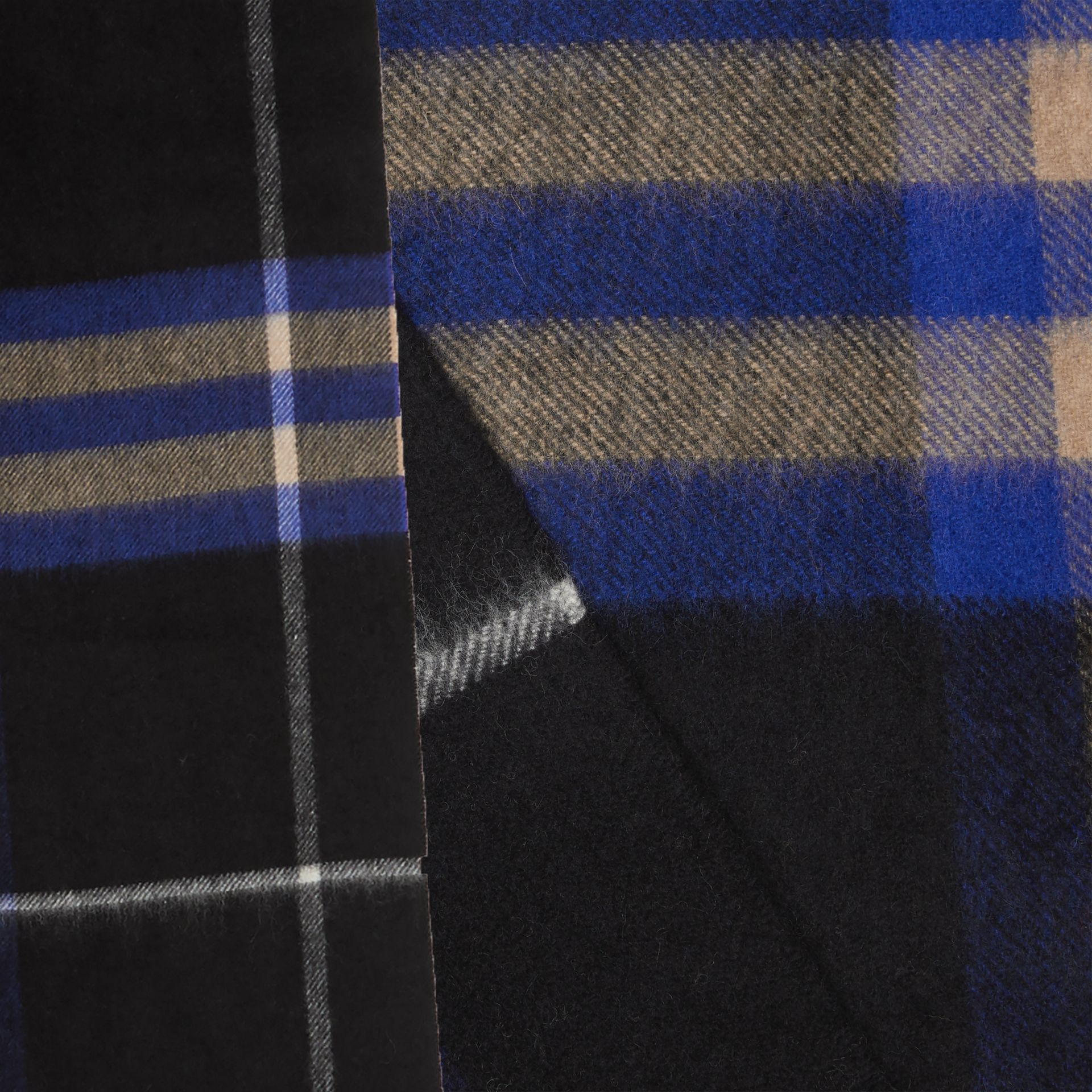 The Classic Check Cashmere Scarf in Bright Cobalt | Burberry United Kingdom - gallery image 1