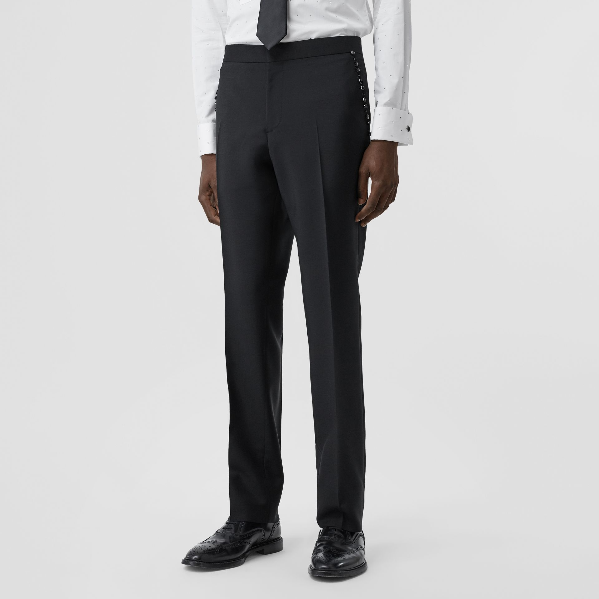 Classic Fit Embellished Mohair Wool Tailored Trousers in Black - Men | Burberry - gallery image 4