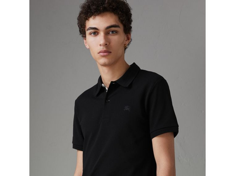Daisy Print Trim Cotton Piqué Polo Shirt in Black - Men | Burberry - cell image 4