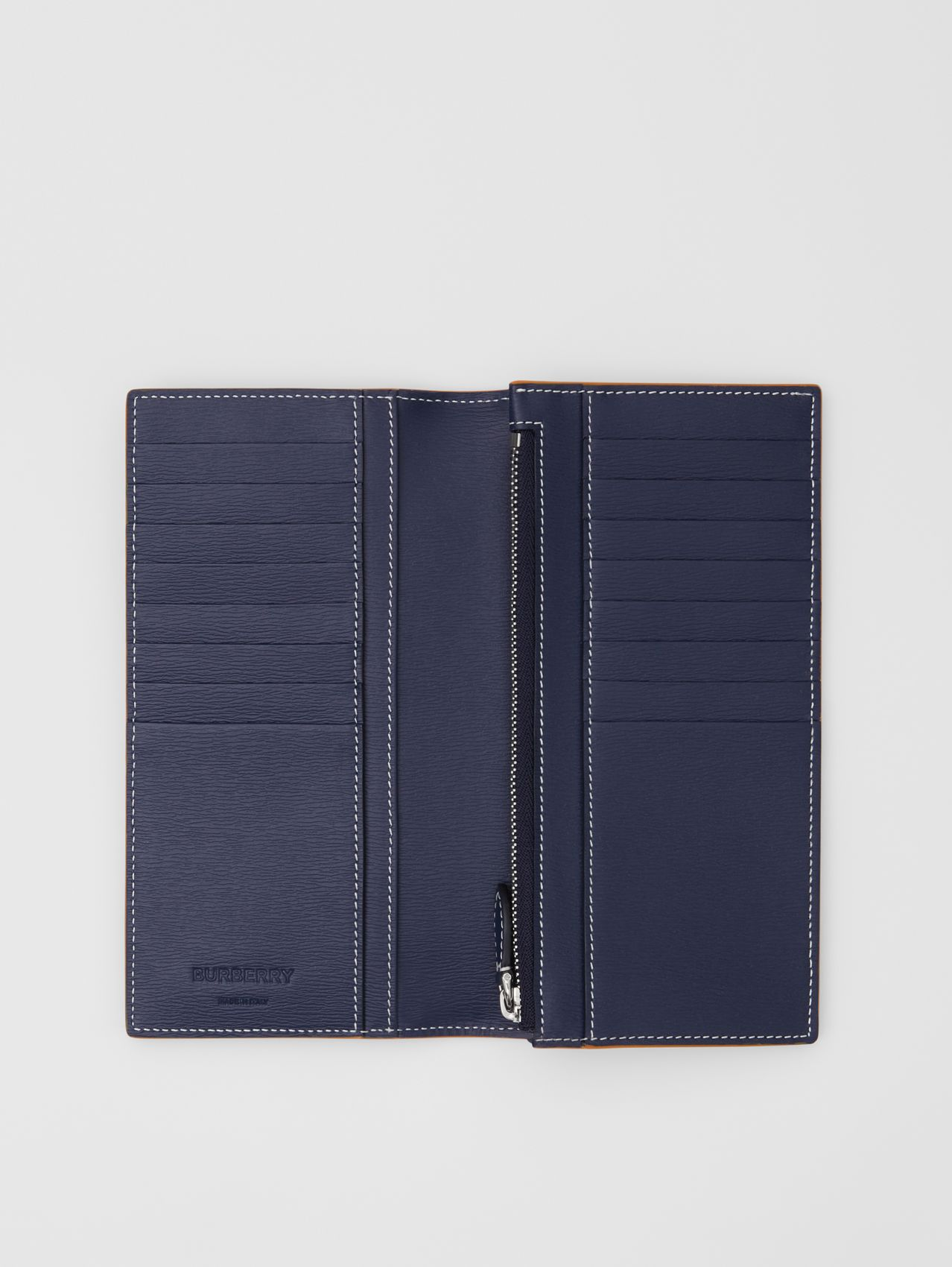 Topstitched Grainy Leather Continental Wallet in Navy