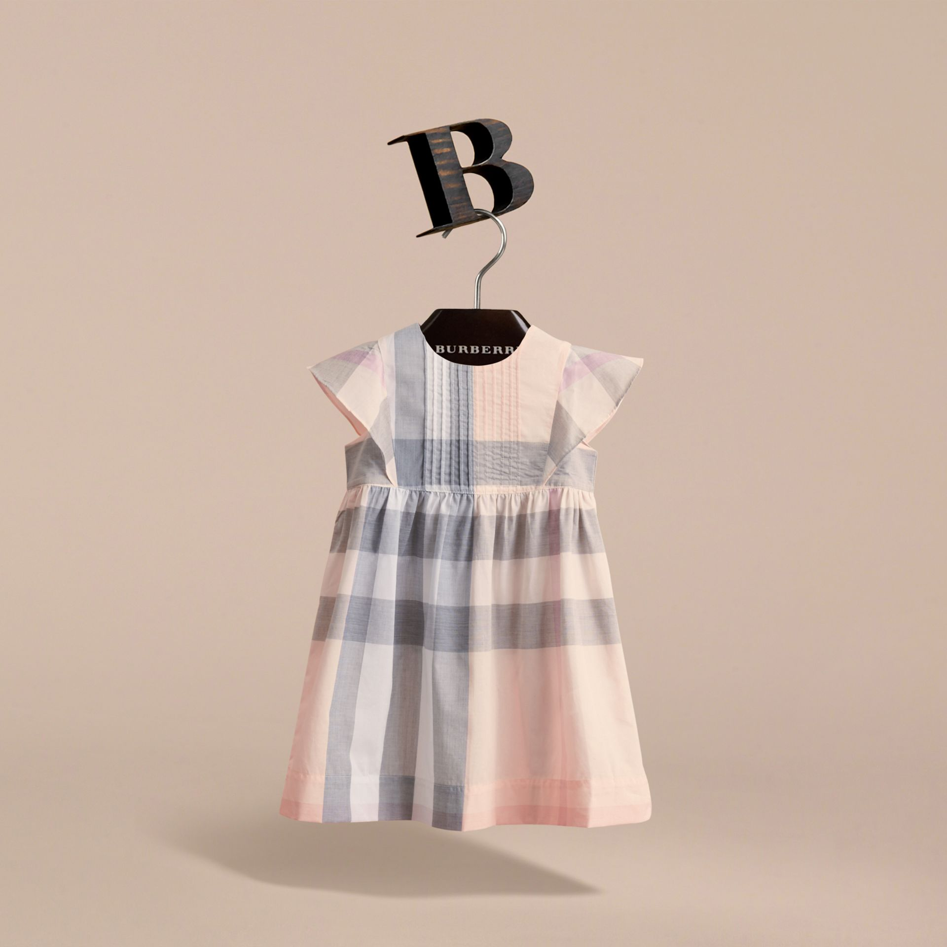 Ruffle Detail Check Cotton Dress in Apricot | Burberry United Kingdom - gallery image 3