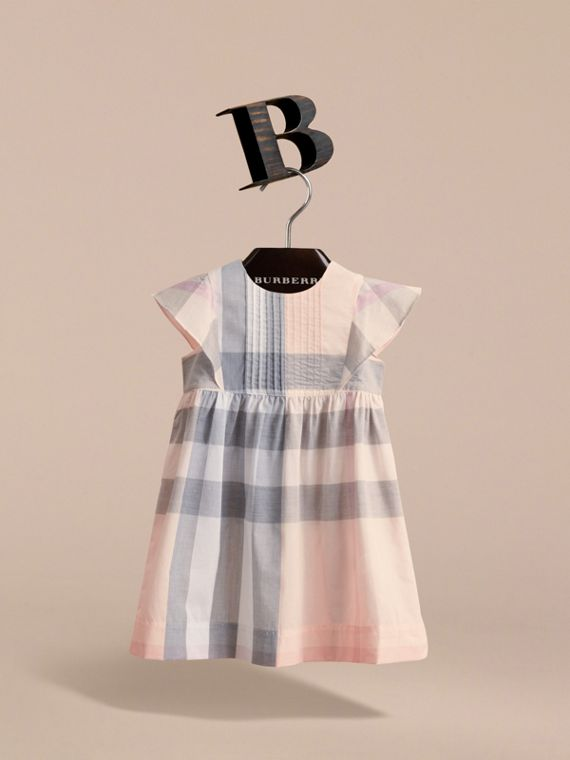 Ruffle Detail Check Cotton Dress in Apricot - Girl | Burberry - cell image 2