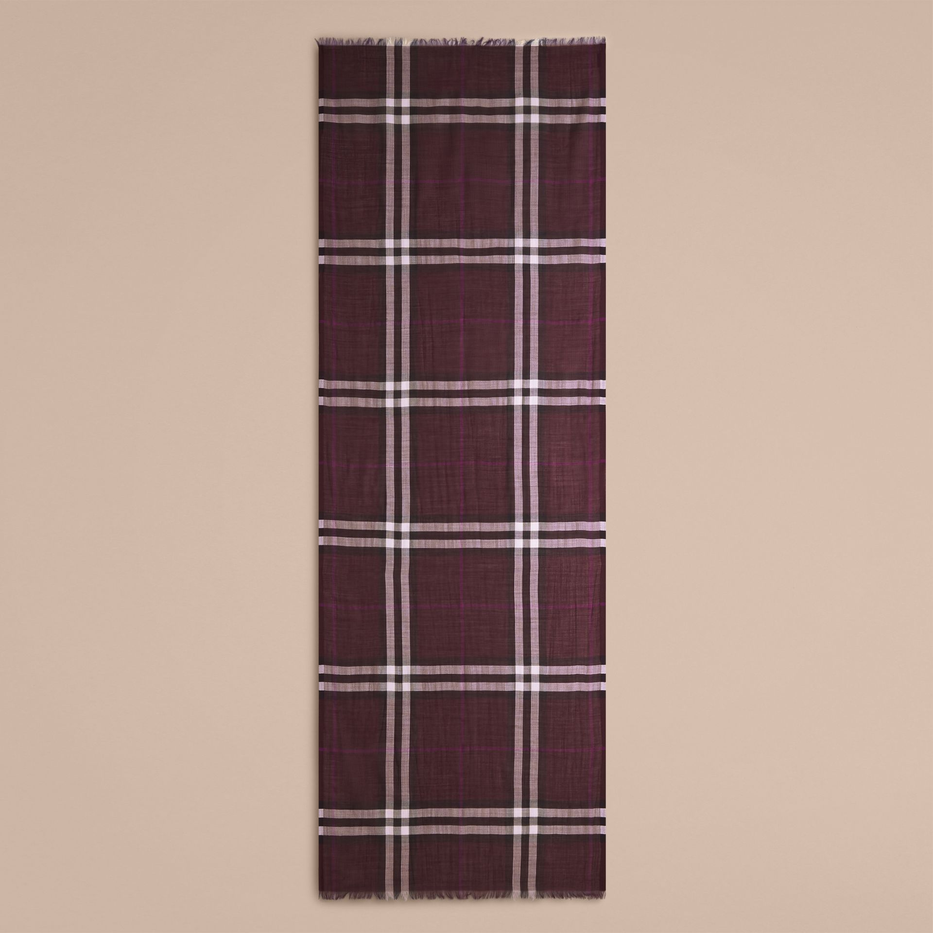 Aubergine check Lightweight Check Wool and Silk Scarf Aubergine - gallery image 5
