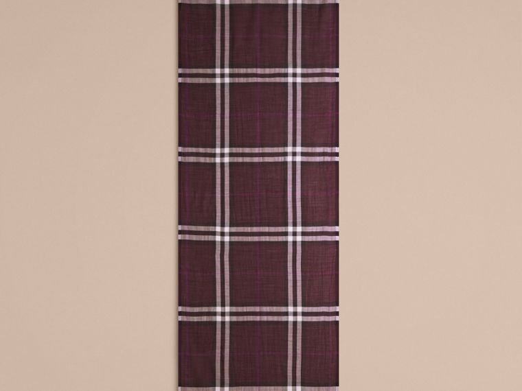 Aubergine check Lightweight Check Wool and Silk Scarf Aubergine - cell image 4