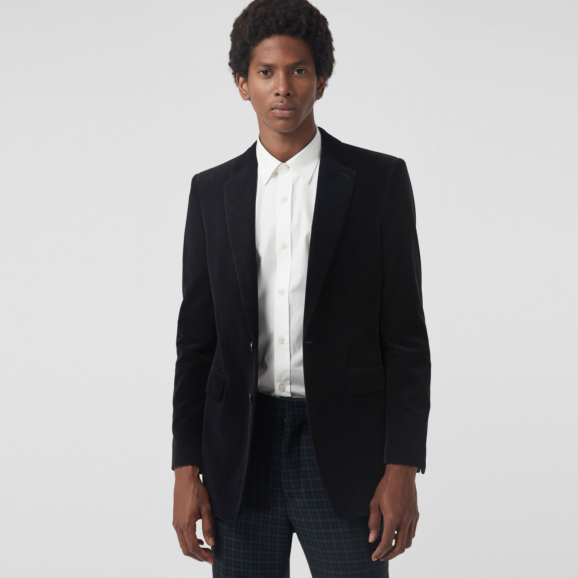Classic Fit Velvet Tailored Jacket in Black - Men | Burberry United Kingdom - gallery image 4