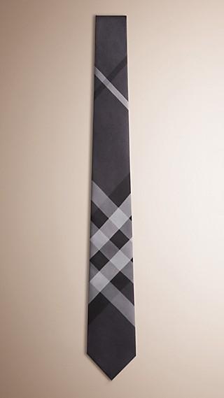 Gravata de seda com corte moderno e padrão Beat check