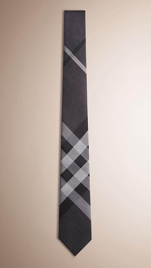 Dark charcoal Modern Cut Beat Check Silk Tie - Image 1