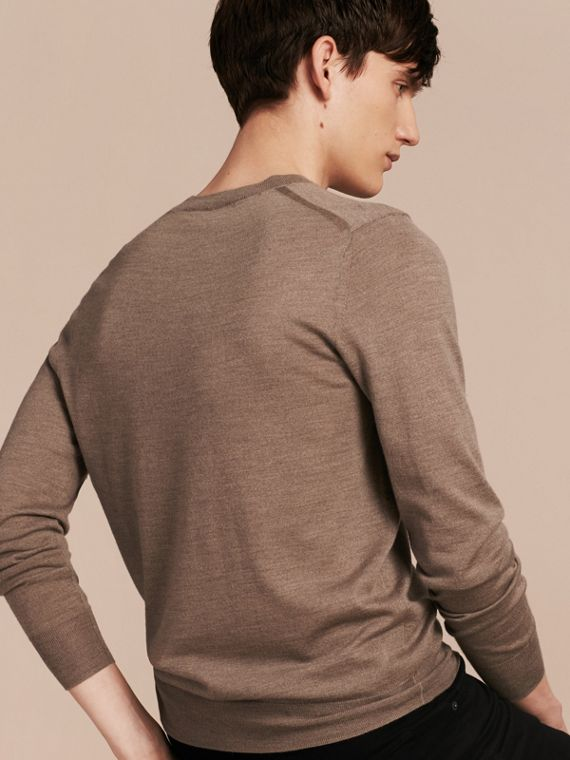 Taupe grey melange Crew Neck Merino Wool Sweater Taupe Grey Melange - cell image 2