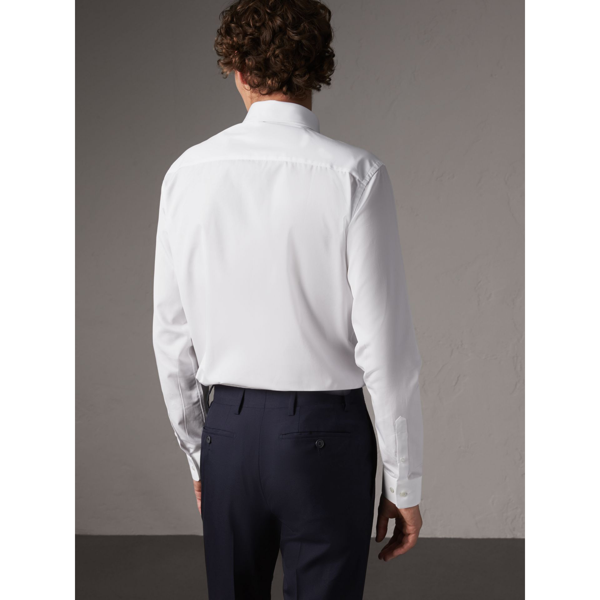Slim Fit Button-down Collar Cotton Poplin Shirt in White - Men | Burberry Australia - gallery image 3