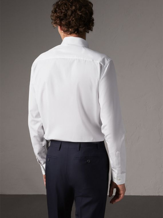 Slim Fit Button-down Collar Cotton Poplin Shirt in White - Men | Burberry Australia - cell image 2