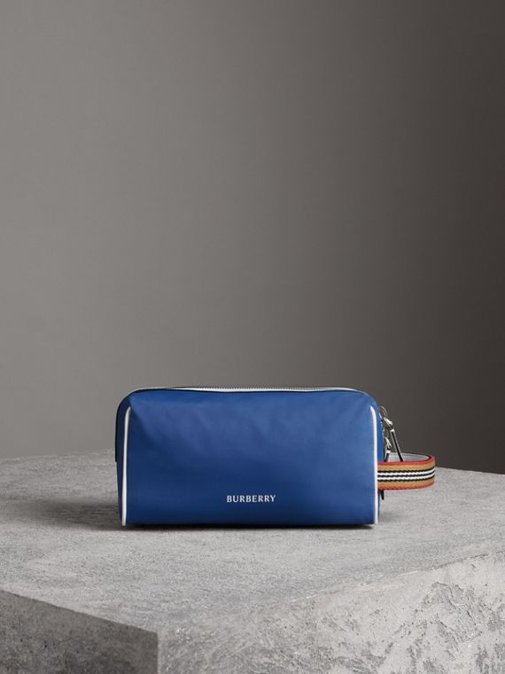 Heritage Ribbon Detail Nylon Pouch in Dark Canvas Blue