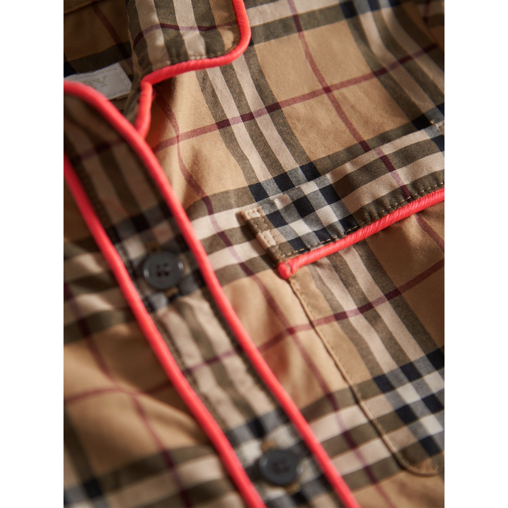 Piping Detail Check Cotton Shirt Dress in Camel - Girl | Burberry - gallery image 1