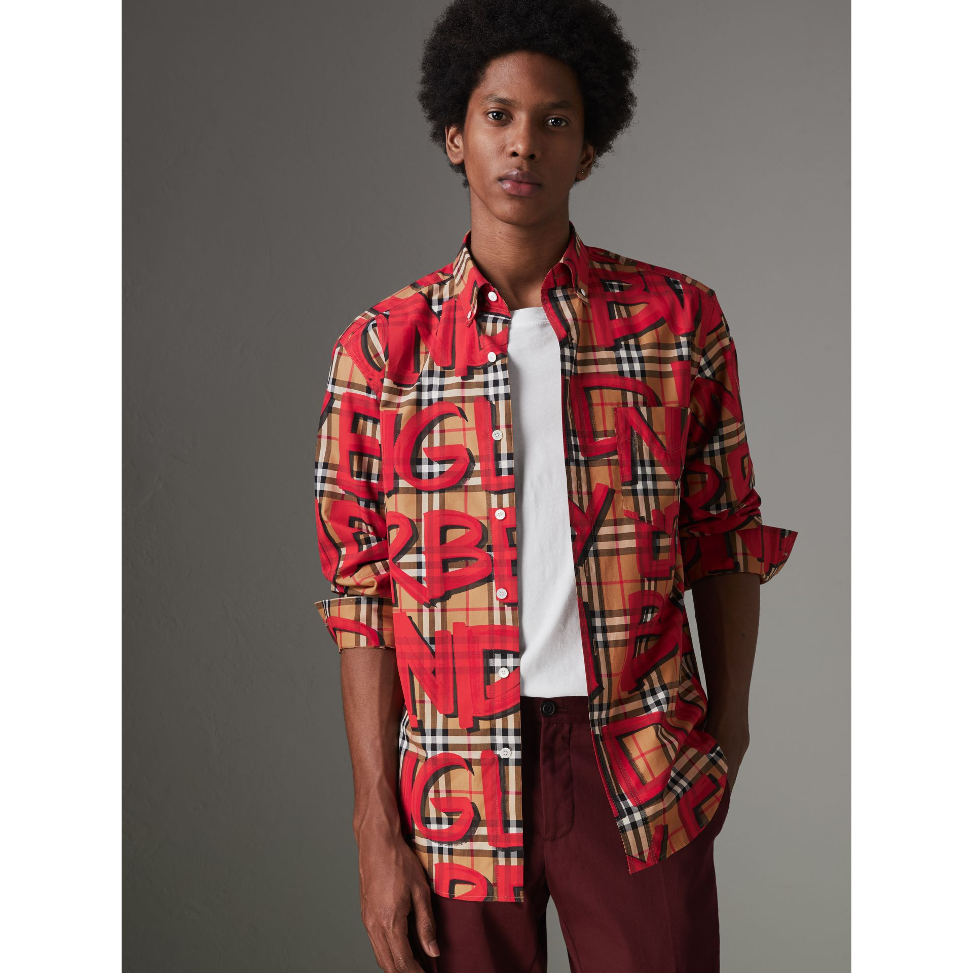 Graffiti Print Vintage Check Shirt in Bright Red - Men | Burberry Australia - gallery image 4