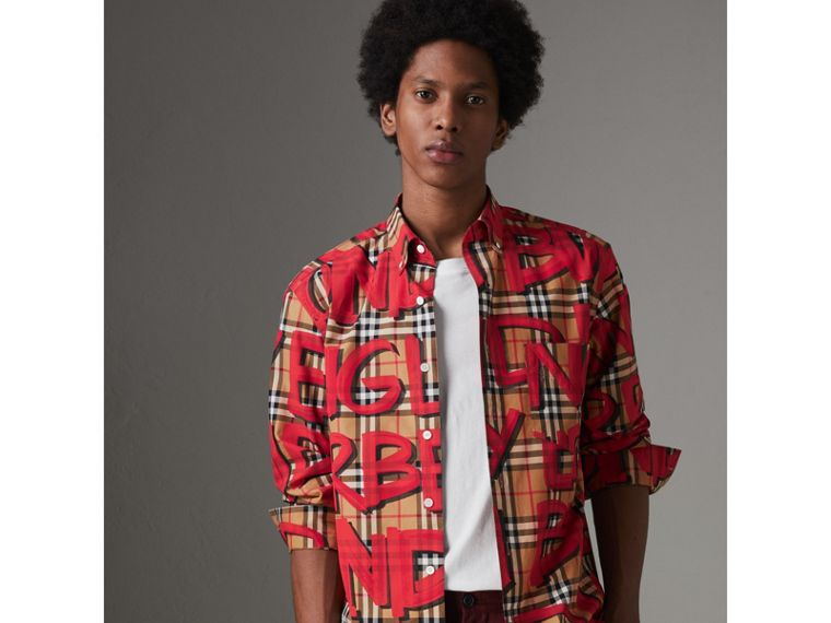 Graffiti Print Vintage Check Shirt in Bright Red - Men | Burberry Australia - cell image 4