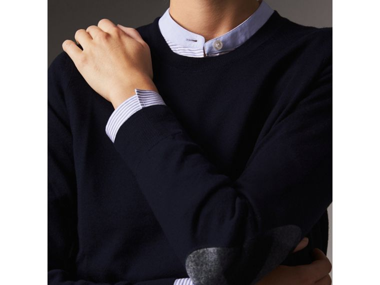 Check Detail Merino Wool Crew Neck Sweater in Navy - Women | Burberry Hong Kong - cell image 1