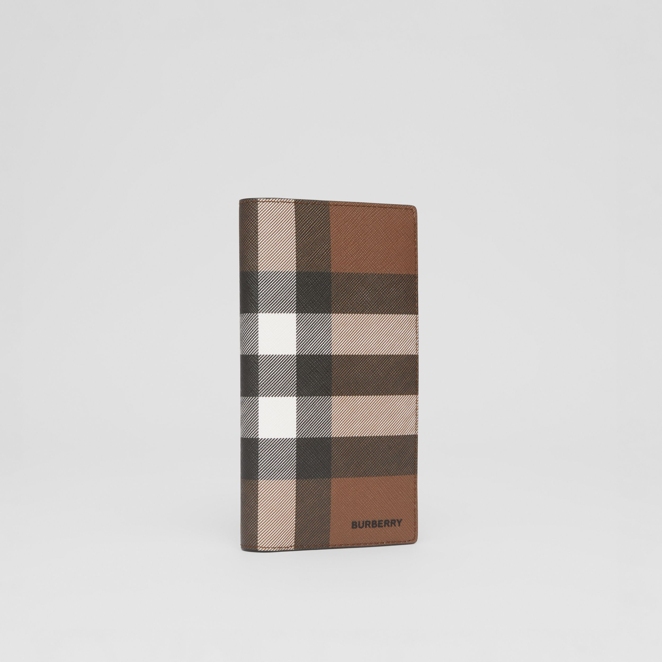 Check E-canvas Continental Wallet in Dark Birch Brown - Men | Burberry - 4