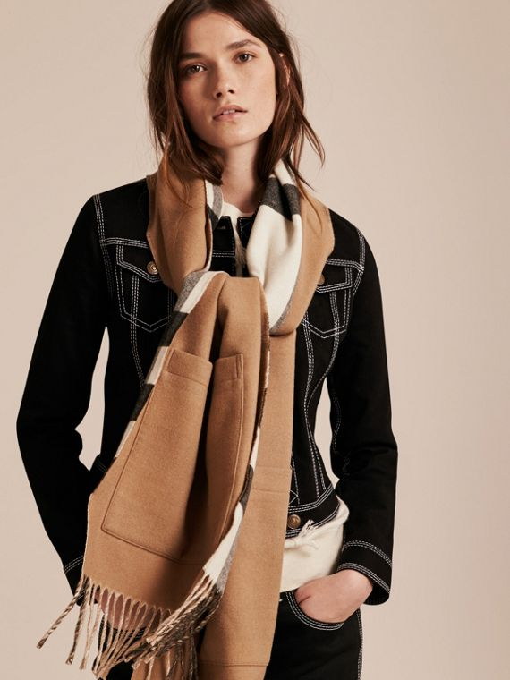 Check Lined Wool Cashmere Stole in Ivory - Women | Burberry - cell image 2